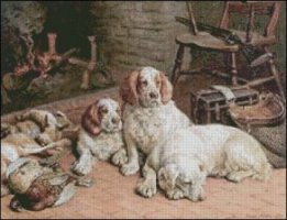 Clumber Spaniels By a Fire