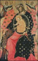 Madonna and Child Enthroned with Two Devout People