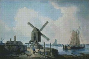 Shore Scene, Windmills and Shipping