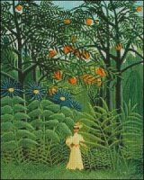 Woman Walking in an Exotic Forest